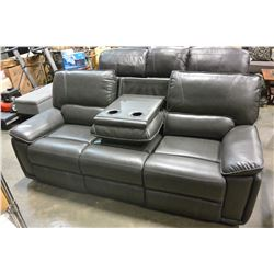 NEW WHITNEY 3 PIECE GREY LEATHER MODERN MOTION RECLINING SOFA SET, WITH WHITE STICHING AND DROP DOWN