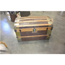 CANADIAN PACIFIC METAL AND WOOD BOUND TRUNK