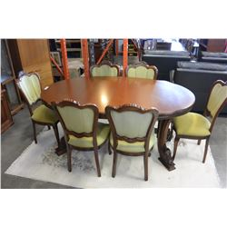 DESIGNER OVAL DINING TABLE AND SIX UPOLSTERED DINING CHAIRS