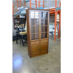 OAK TWO DOOR DISPLAY CABINET