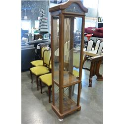 OAK AND GLASS ILLUMINATED CURIO CABINET