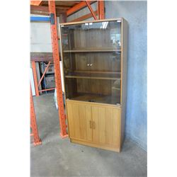 MCM TEAK CABINET WITH DOUBLE GLASS DOOR AND DOUBLE WOOD DOORS