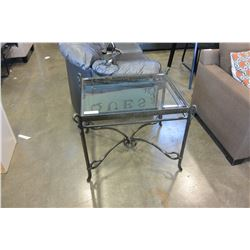 DESIGNER IRON BASE GLASSTOP ENDTABLE