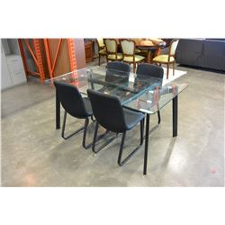 GLASSTOP DINING TABLE AND FOUR CHAIRS