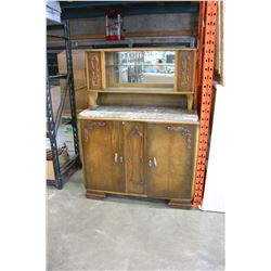 ANTIQUE CABINET WITH CRACKED MARBLE TOP