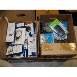 TWO BOXES OF AV CABLES AND ELECTRONICS