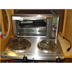 OSTER CONVECTION TOASTER OVEN AND SALTON DOUBLE HOT PLATE