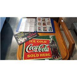 COLLECTIBLE COCA COLA CARDS AND TIN SIGN