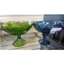 2 CARNIVAL GLASS COMPOTES