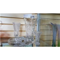 FIVE PIECES OF CRYSTAL INCLUDING TALL VASE