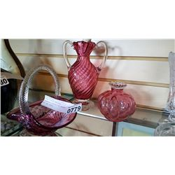 THREE PIECES HERITAGE CRANBERRY COLLECTION BASKET AND TWO VASES