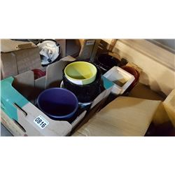 SHELF LOT OF COLORED PLANTERS