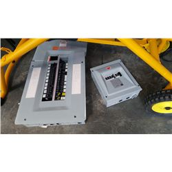 2 ELECTRICAL BREAKER BOXES, 125 AMP PANEL WITH SUB PANEL