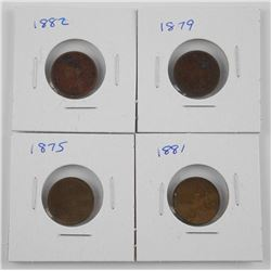 4x Indian Head 1 Cent - 1875, 1879, 1881, 1882