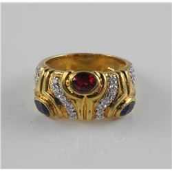 Estate Gold Plated/925 Sterling Silver Gemstone Ri