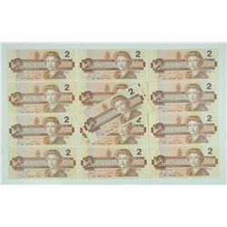 13x 1986 Bank of Canada Two Dollar Notes