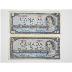 2x Bank of Canada 1954 Modified Portrait - Five Do