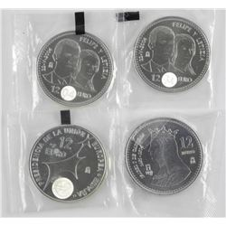 4x Silver 12 Euro Proof Coins
