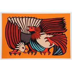 Victor Delfin, Orange Fighting Cocks, Serigraph