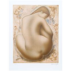 Alain Bonnefoit, Seated Nude, Lithograph
