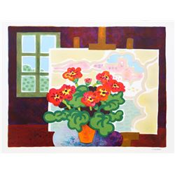 Guy Charon, Red Flowers with Painting, Lithograph