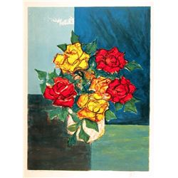 Henri Westel, Yellow and Red Roses, Lithograph