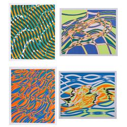 Stanley Hayter, The Aquarius Suite of Four Op-Art Silkscreens