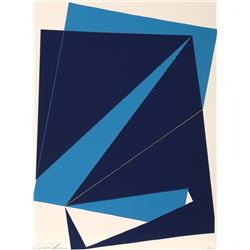 Cris Cristofaro, Untitled - Navy and Blue Rectangles, Silkscreen