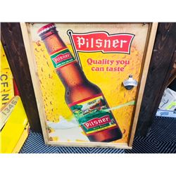 VINTAGE WOODEN PILSNER BOTTLE OPENER SIGN