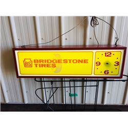 1960s BRIDGESTONE TIRES BS SIGN AND CLOCK