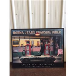 LARGE VINTAGE PHOTOGRAPH NORMA JEANS ROADSIDE DINER FEATURING MARILYN MONROE