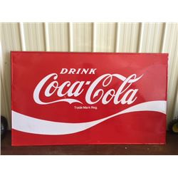 LARGE VINTAGE COCA COLA STEEL SIGN MADE IN CANADA