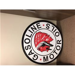 NO RESERVE! INDIAN GASOLINE MOTOR OILS SINGLE SIDED LARGE METAL SIGN