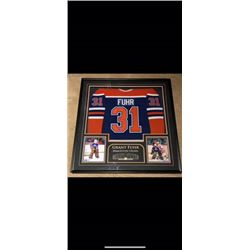 RARE BEAUTIFULLY FRAMED GRANT FUHR JERSEY. HOF 03 INSCRIBED. CERTIFICATE OF AUTHENTICATION AND MATCH