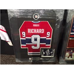MAURICE RICHARD SIGNED FRAMED JERSEY WITH COA