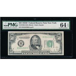 1934D $50 New York Federal Reserve Note PMG 64EPQ
