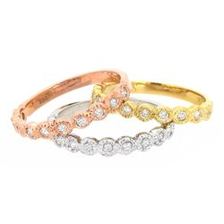 14KT Tri Color Gold 0.60ctw Diamond Ring Set