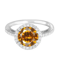 14KT White Gold 2.75ct Citrine and Diamond Ring
