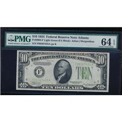1934 $10 Atlanta Federal Reserve Note PMG 64EPQ