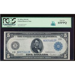 1914 $5 New York Federal Reserve Note PCGS 65PPQ