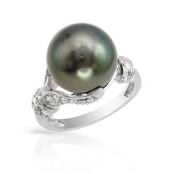 14KT White Gold 14.18ct Tahitian Pearl and Diamond Ring