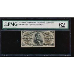 25 Cent Third Issue Fractional Note PMG 62
