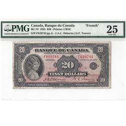 1935 $20 Banque Du Canada French Note PMG 25