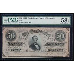 1864 $50 Confederate States of America Note PMG 58EPQ