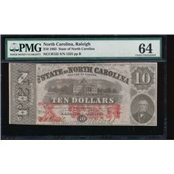 1863 $10 North Carolina Obsolete Note PMG 64