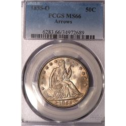 1855-O Arrows Seated Liberty Half Dollar Coin PCGS MS66