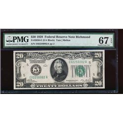 1928 $20 Richmond Federal Reserve Note PMG 67EPQ