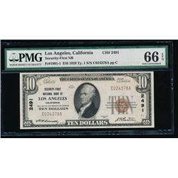 1929 $10 National Bank of Los Angeles Note PMG 66EPQ