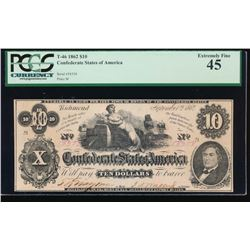 1862 $10 Confederate States of American Note PCGS 45