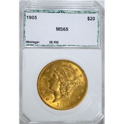 1905 $20 Liberty Head Eagle Gold Coin MS65
